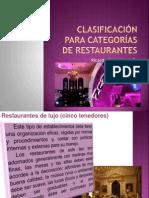 CLASIFICACIÓN PARA CATEGORÍAS DE RESTAURANTES