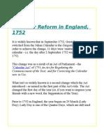 Calendar Reform in England