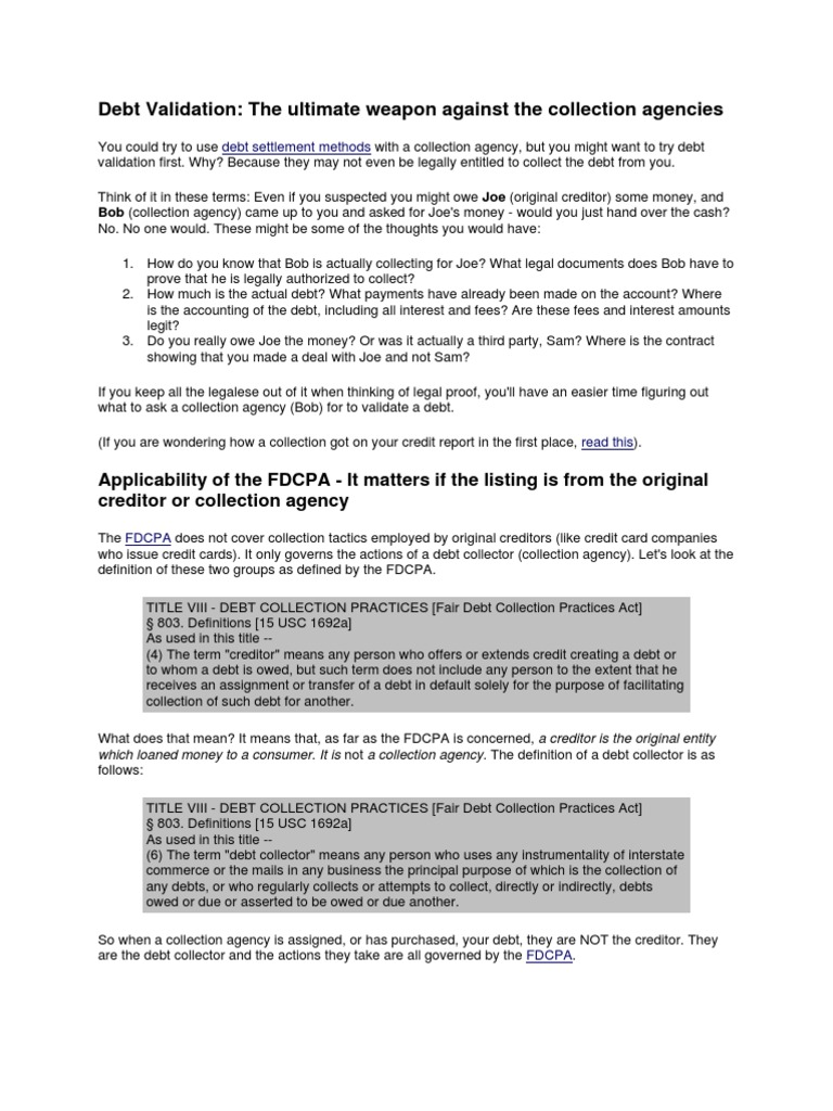 Fdcpa Validation Letter Sample from imgv2-1-f.scribdassets.com