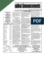 Shabbat Announcements, February 21, 2009