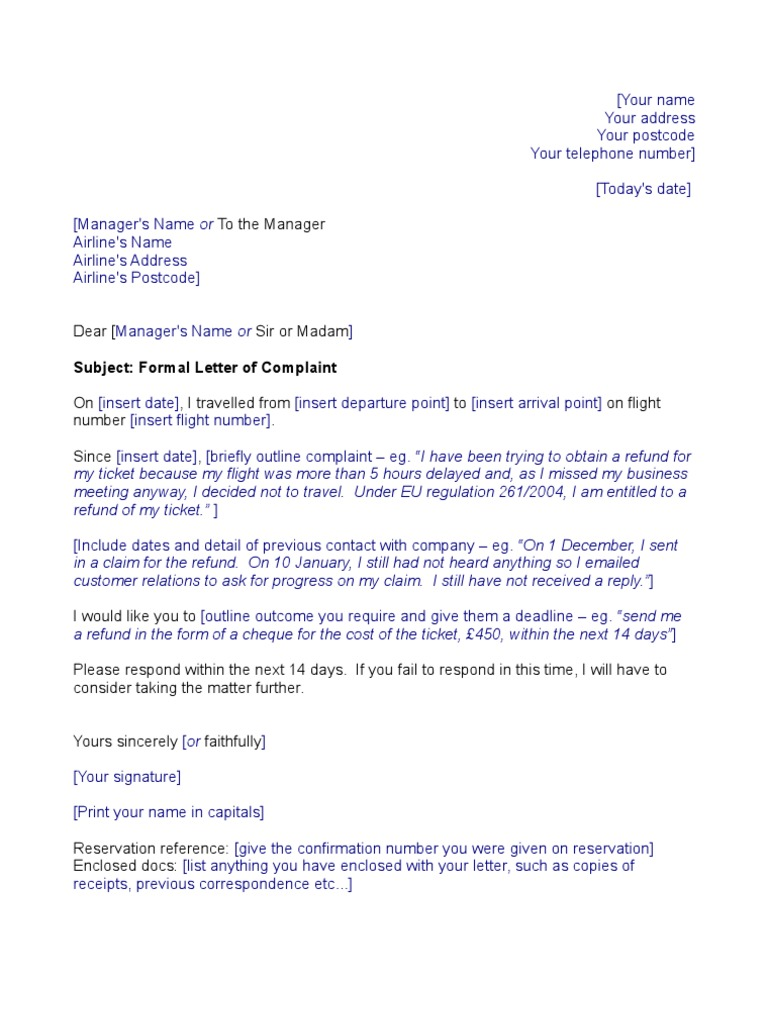 Airline template complaint letter spiritdancerdesigns Images