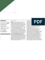 """Recensione a """"Foucault interprete di Nietzsche. Dall'assenza d'opera all'estetica dell'esistenza"""" di Stefano Righetti Alias 17 febbraio 2013, Marco Pacioni"""