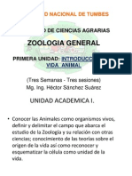 1 Zoologia General Primera Unidad Intoduccion a La Vida Animal