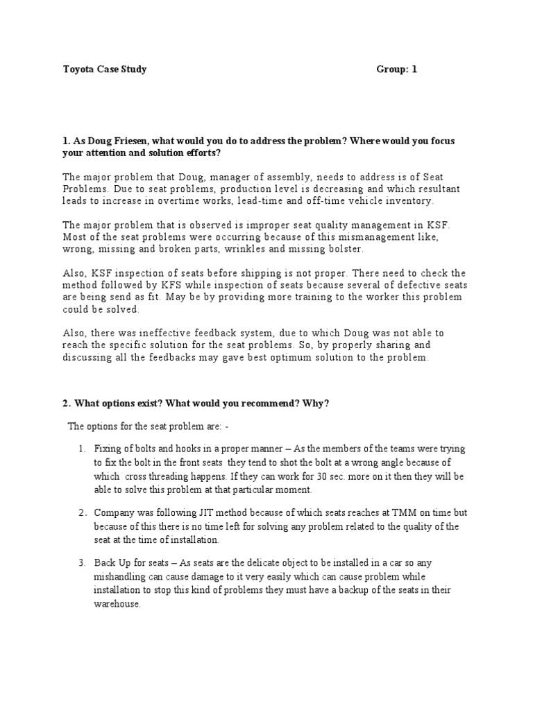 Toyota Case Study Answer | Producción y fabricación | Business