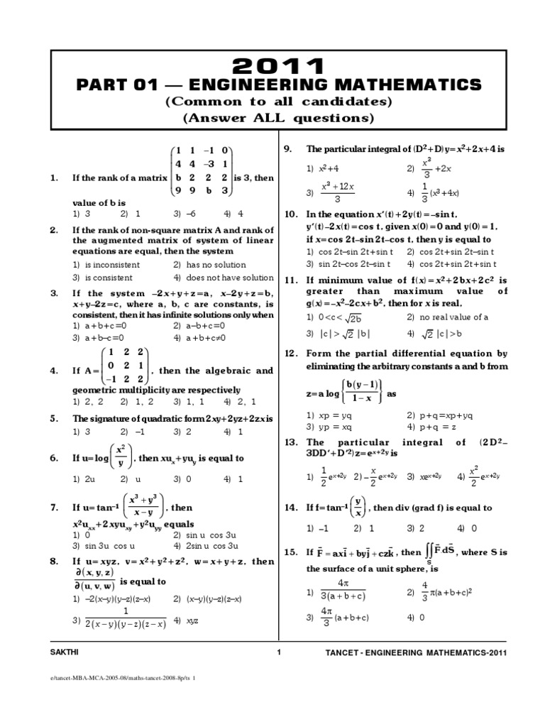 Part 01 — Engineering Mathematics: (Common to all candidates) (Answer ALL questions)