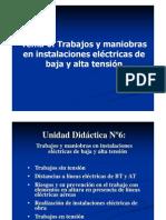 6-Trabajos y maniobras en instalaciones eléctricas de baja y alta tensión