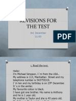 Revisions for the English Test Dezember