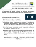 Resultados Inducciones 2013 - 1