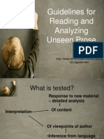 Guidelines for Reading and Analyzing Unseen Prose