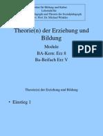 Theorie(n) Der Erziehung Und Bildung-Vorlesung