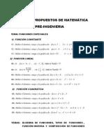 Ejercicios Propuestos Sobre Funciones - Matematica Pre-Ingenieria