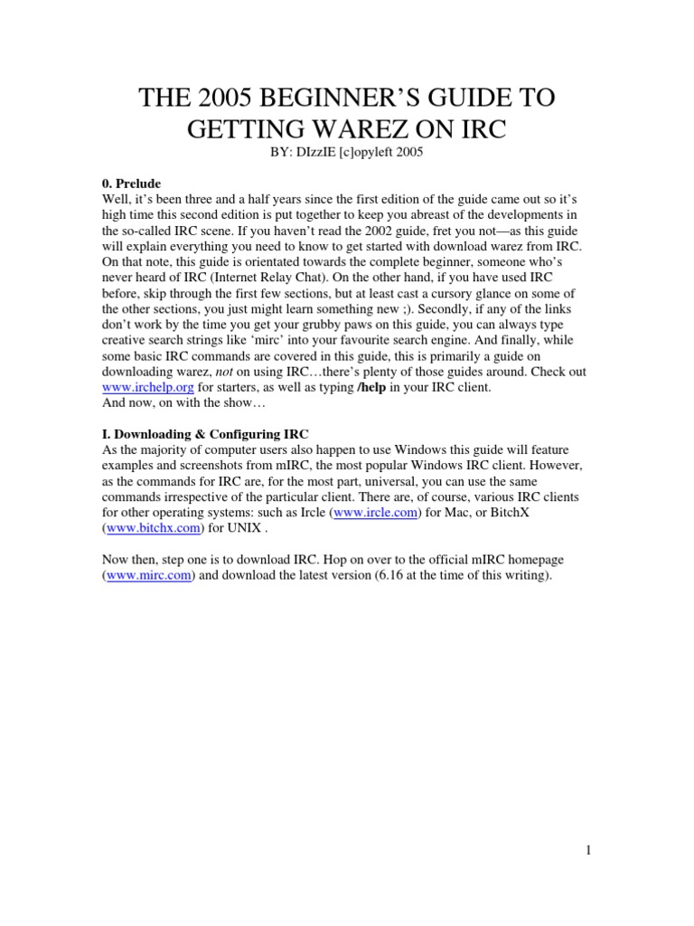 The 2005 Beginner's Guide to Getting Warez on IRC | Internet