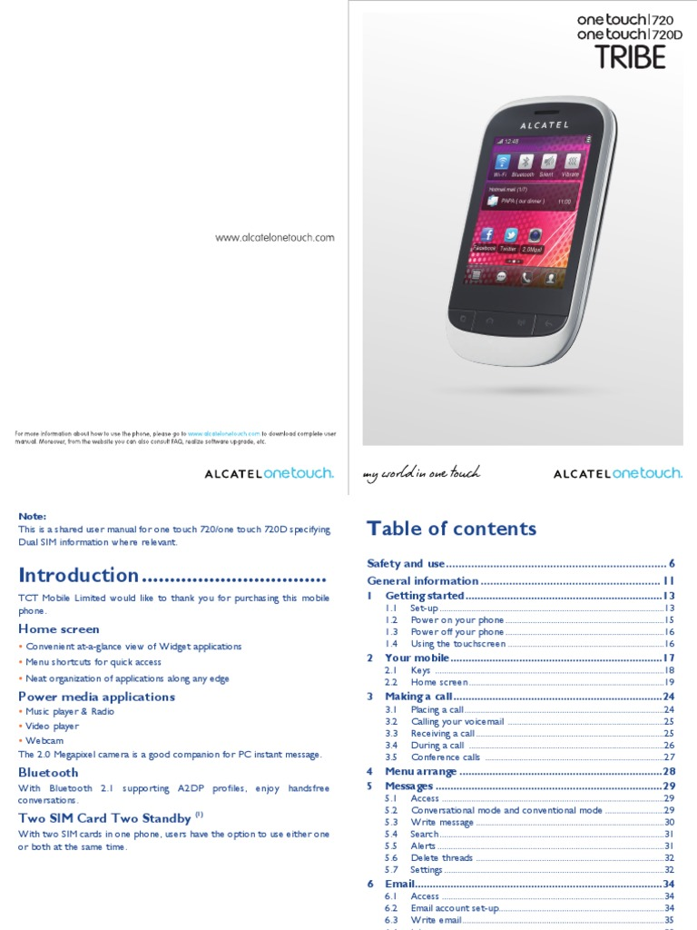 Onetouch 720 720d User Manual English 2 | Short Message Service |  Multimedia Messaging Service