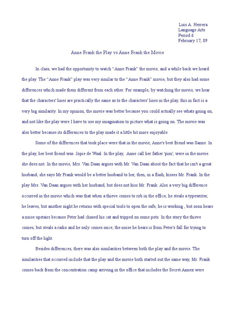 book vs movie essay outline