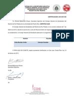 Certificación 2012-2013-60 ( Certificación Junta de Reconocimiento de Organizaciones Estudiantiles)