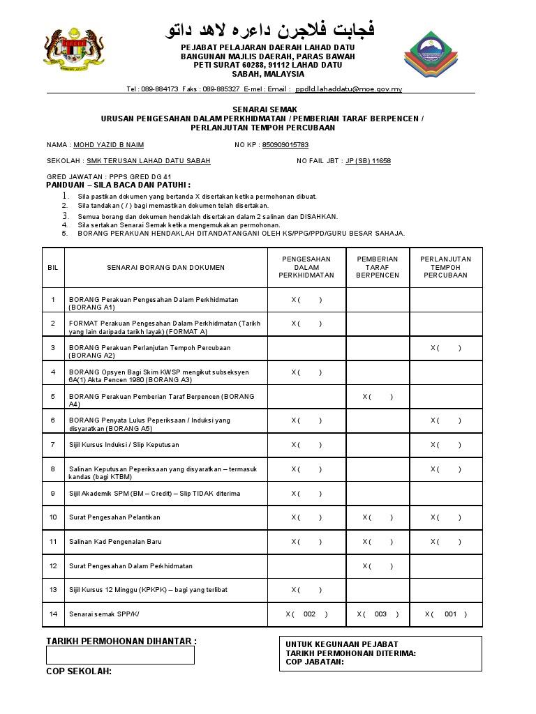 Senarai Semak Borang Pdp Ptb Ptp Doc