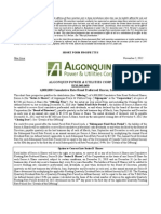 Algonquin Power Preferred Shares Series A