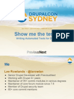 Drupalcon Sydney - Show Me the Tests! Writing Automated Tests for Drupal