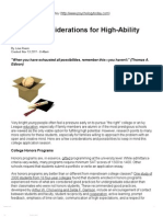 College Considerations for High-Ability Teens