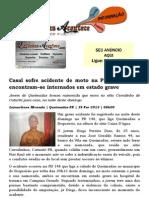 Casal sofre acidente de moto na PB148; Jovens encontram–se internados em estado grave