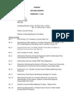 Hamilton County Agenda & Resolutions Feb. 7, 2013