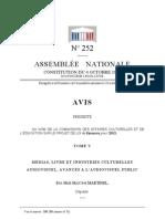 Rapport Avis Audiovisuel PLF 2013 a0252-tV