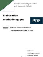 Elaboration Methodologique Theme Pratiques Et Representations De