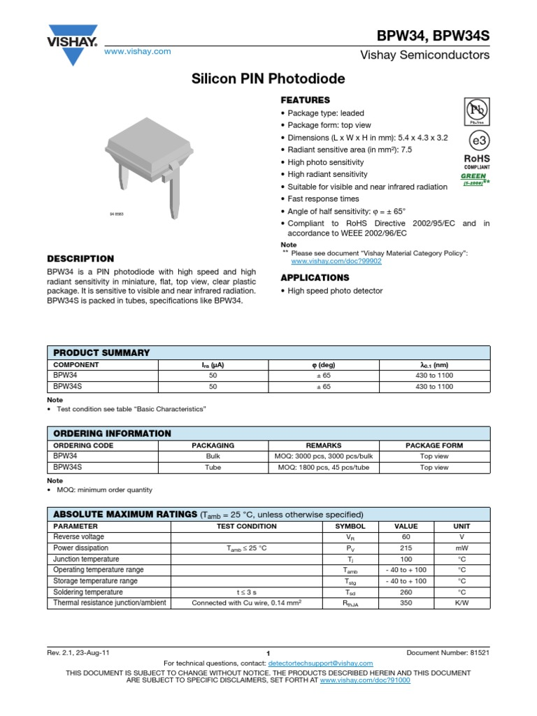BPW34 Vishay Photodiode