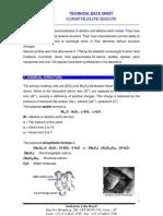 Clinoptilolite Zeolite - Technical Data Sheet