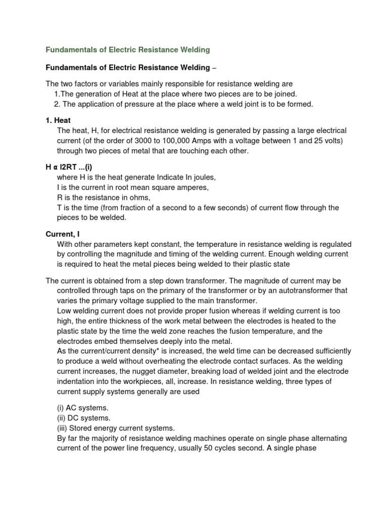 Fundamentals Of Electric Resistance Welding Welding Soldering