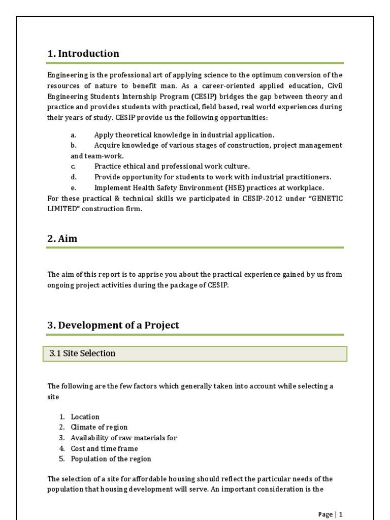 Civil Engineering Internship Report Construction