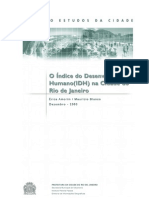 (Idh) Na Cidade Do Rio de Janeiro_2003