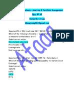 FIN630 Quiz 2 Fall 2011 Solved by Affaq