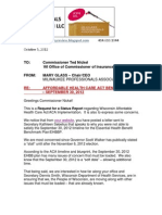 Request for Status Report - Ted Nickel, Wisconsin Commissioner of Insurance  RE