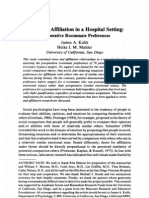 R01 - Kulik 1989 - Stress & Affiliation in a Hospital Setting. Preoperative Roommate Preferences