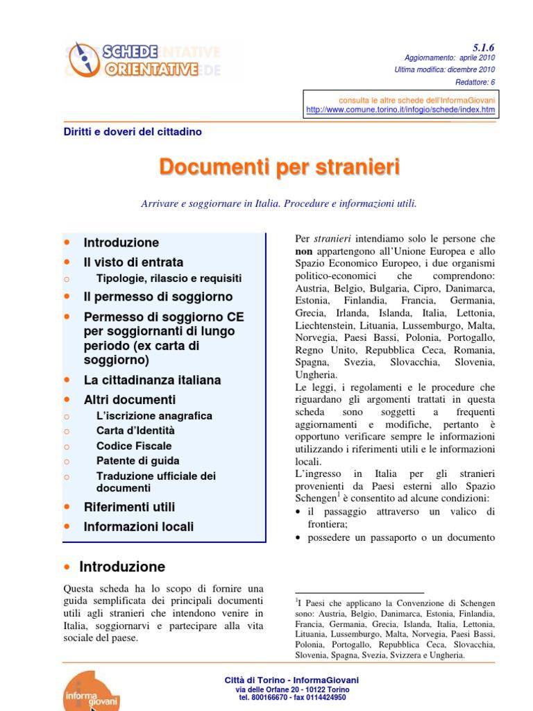 Stunning Aggiornamento Carta Di Soggiorno Ce Gallery - Design Trends ...