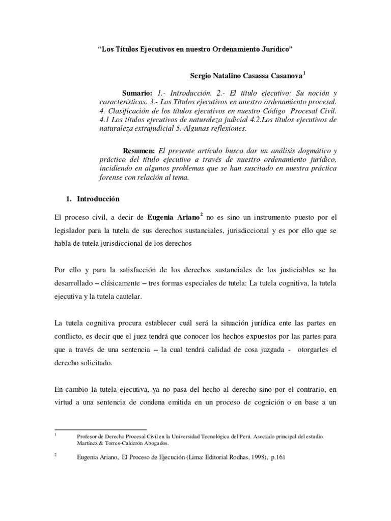 Los Títulos Ejecutivos en nuestro Ordenamiento Jurídico