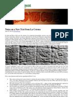 Maya Decipherment - Notes on a New Text From La Corona