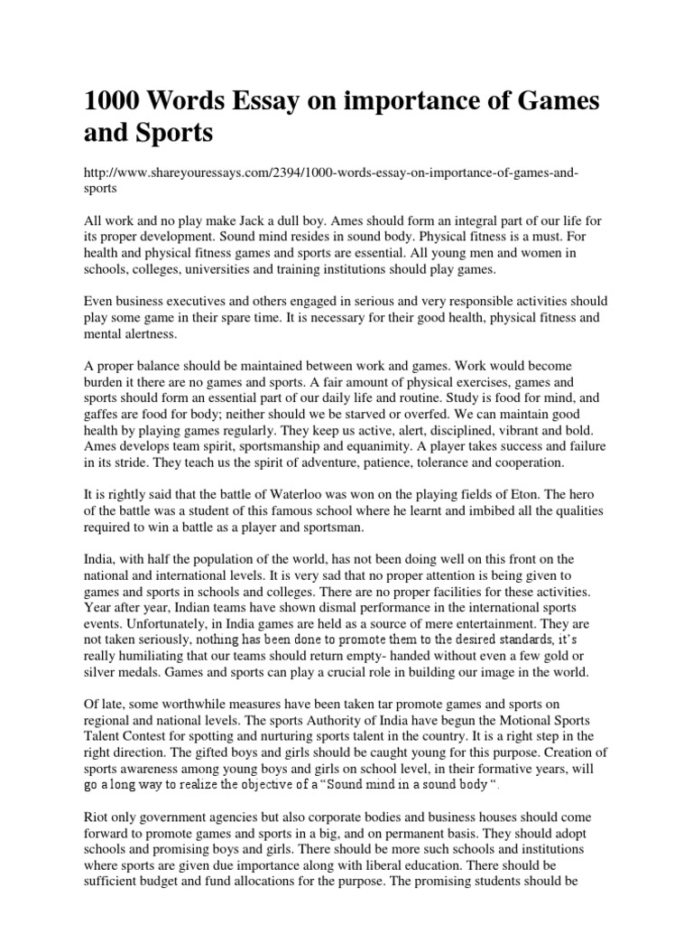 1000 words essay on importance of games and sports
