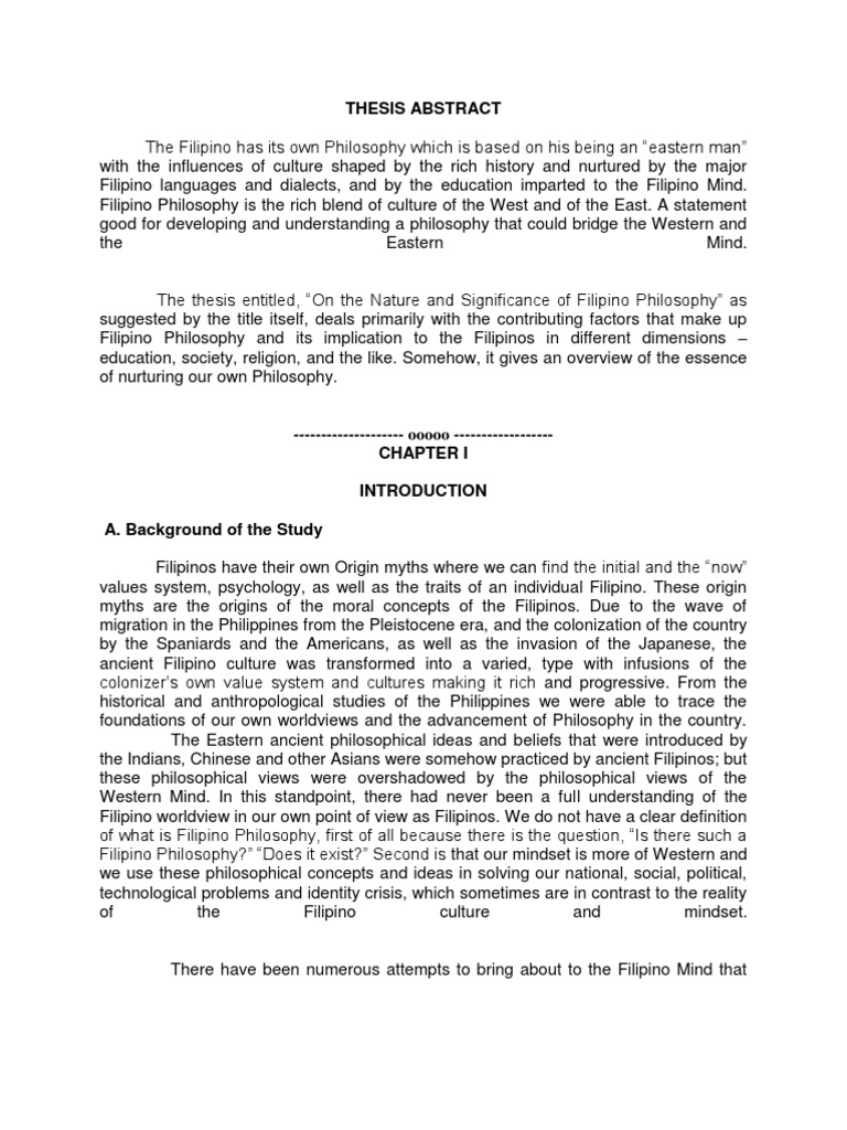 Thesis Abstract | Philippines | World View