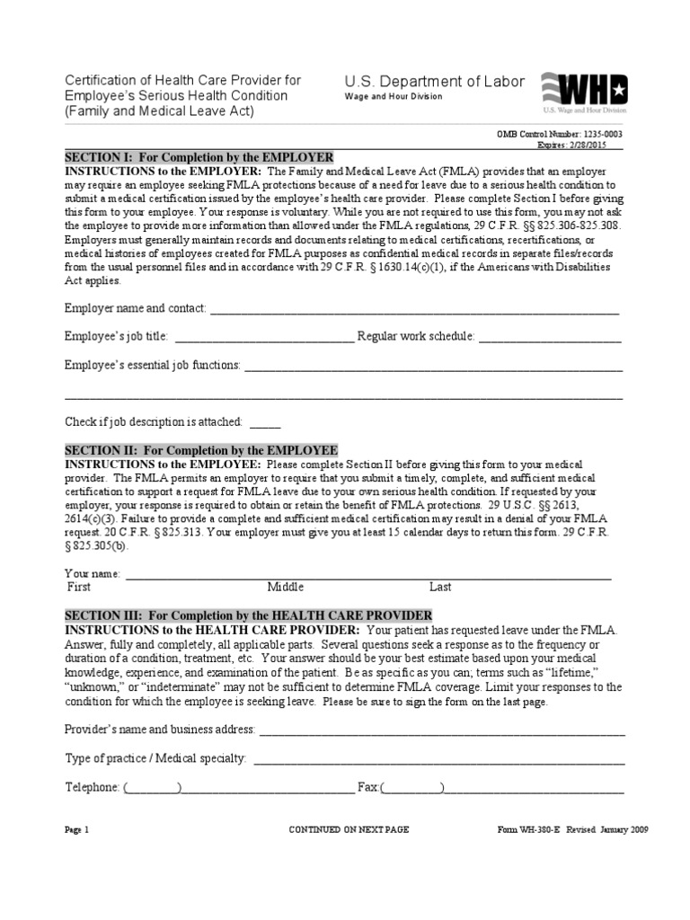 Revised Fmla Forms Feb 2013 Family And Medical Leave Act Of 1993