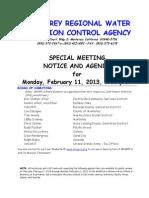 MRWPCA Special Board Mtg Agenda Packet 02-11-13