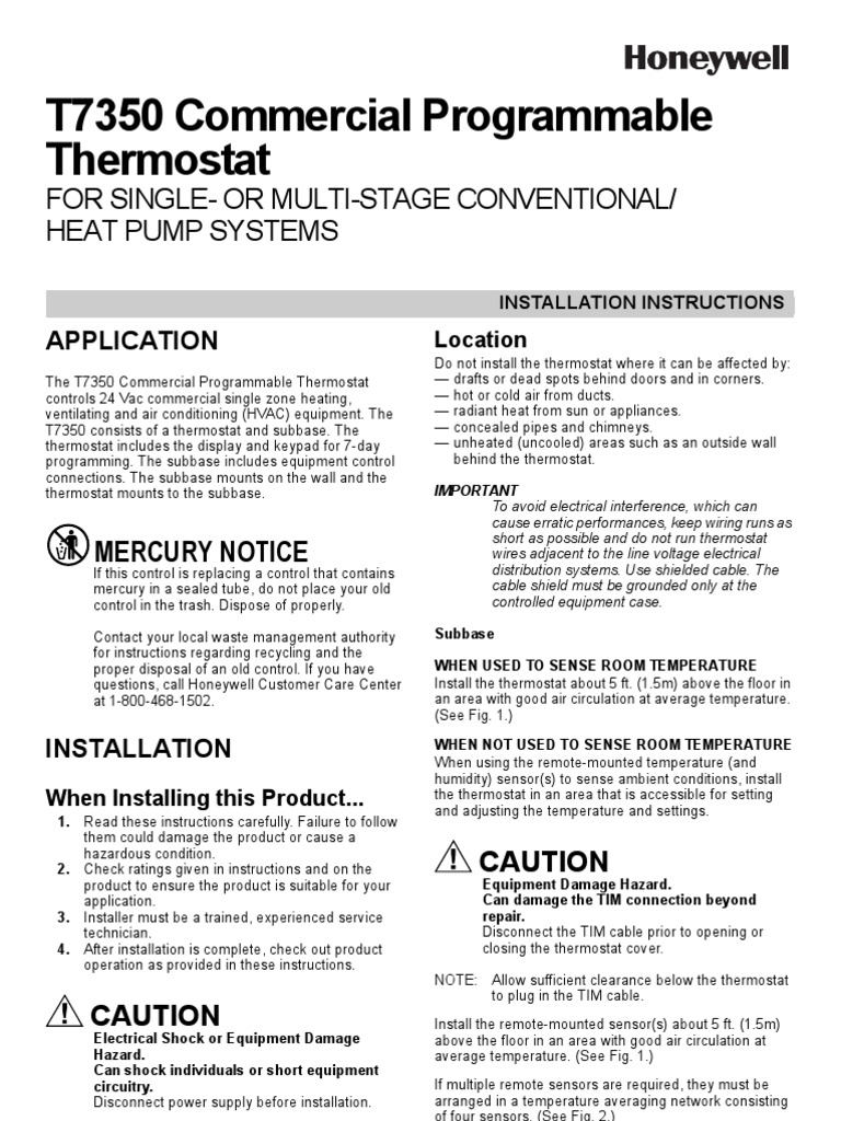 T7350 Installation Instructions Thermostat Relative Humidity Air Temp Heat Pump Wiring Diagram