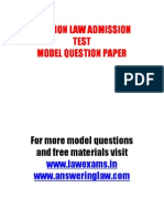 Clat 2011 Model Question Paper, CLAT MOCK TEST. www.lawexams.in