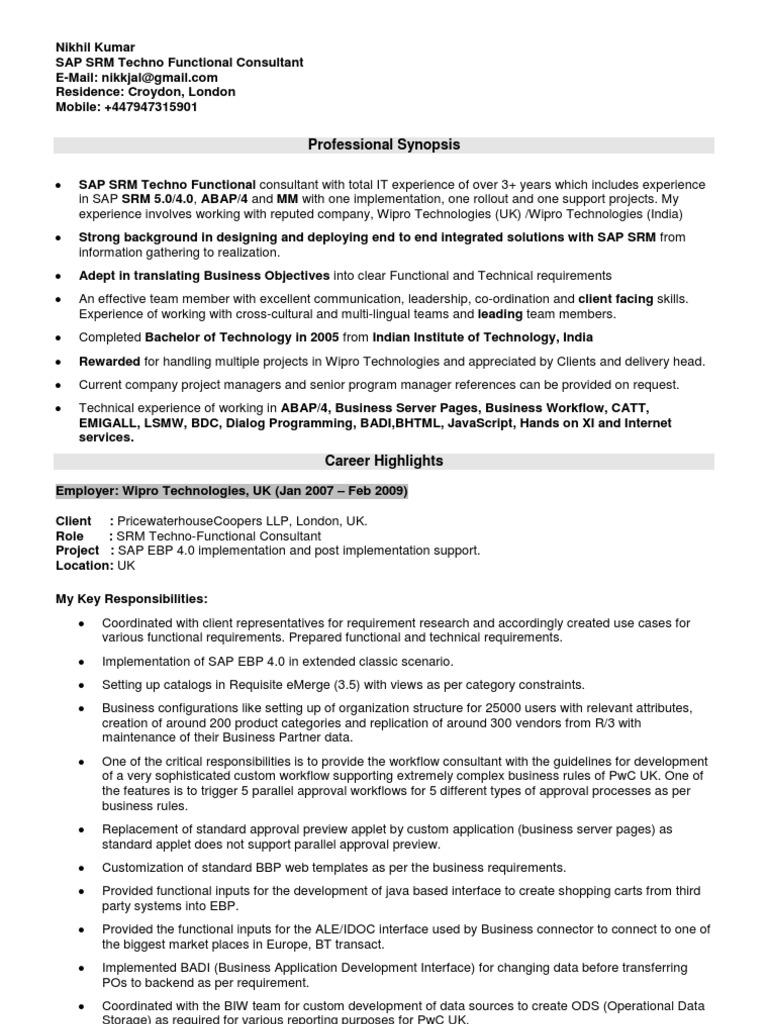Resume Of Nikhil Kumar SAP SRM Techno Functional | Sap Se | Interface  (Computing)