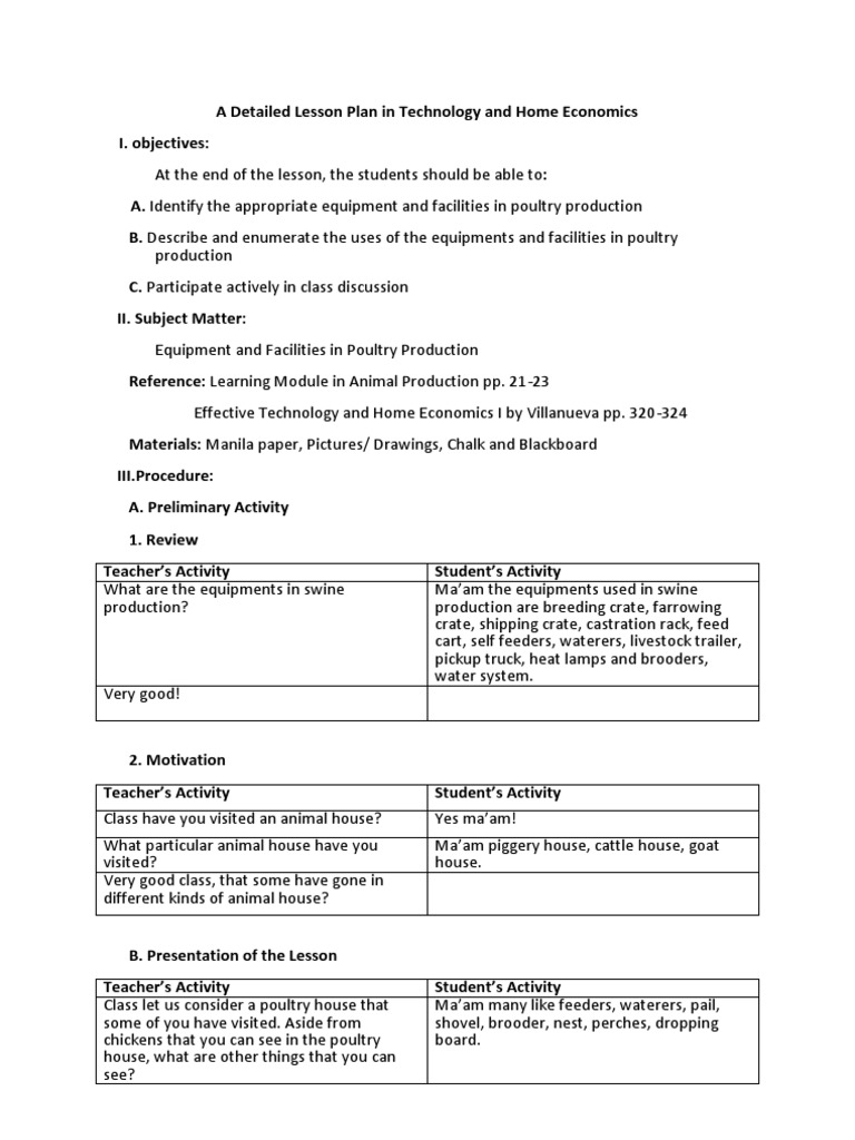 A Detailed Lesson Plan In Technology And Home Economics Poultry Farming Poultry