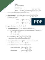 Vector Calculus Summary
