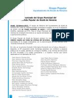 N.P PP comunicado aclaración calle Gregorio Ordóñez