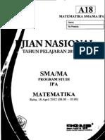 Naskah Soal UN Matematika IPA SMA 2012 Paket A18