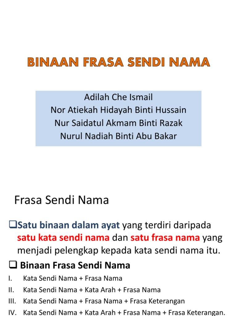 Binaan Frasa Sendi Nama